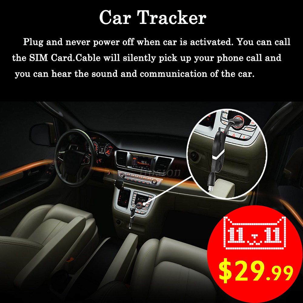 GPS Activity Tracker Vehicle Car Locator USB Cable Line Charger Listen Sound GSM GPRS Tracking Alarm Device for iPhone Android gf11 mini car gps tracker gsm gprs tracking device tf sd sim card usb port for android ios with usb charger
