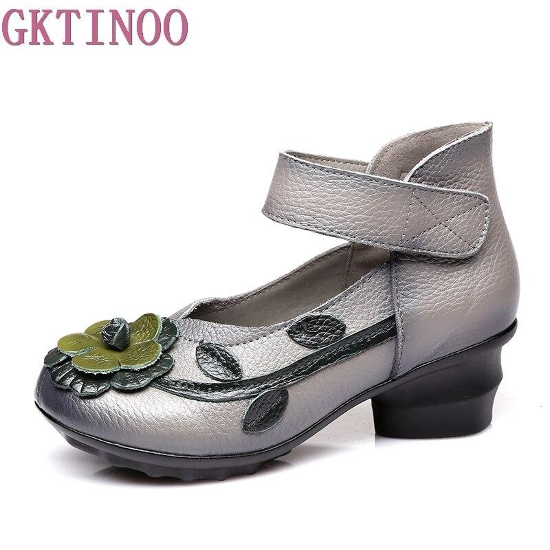 2018 женская обувь ручной работы из натуральной кожи, весенне-осенние мягкие женские туфли-лодочки на Высоком толстом каблуке, Винтажная обув...