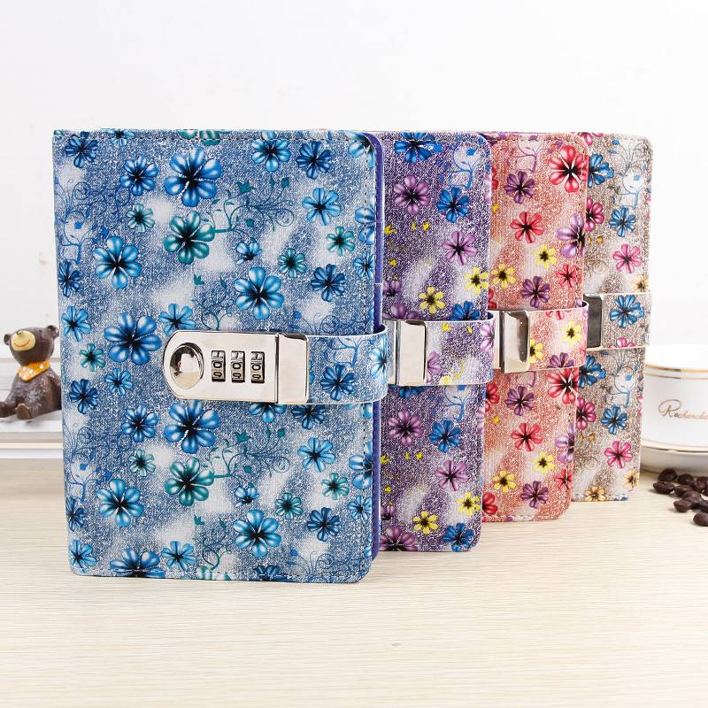 Creative A6 Diary With Lock PU Leather Flower Notebook School Supplies Lockable Password Writing Pads Notebook Girl Women Gift