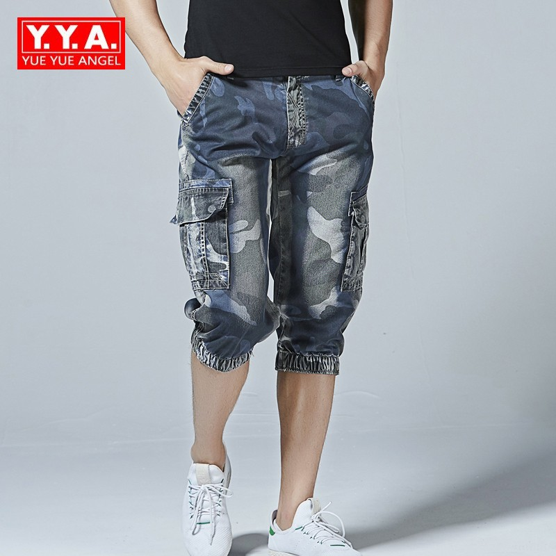Summer Men Camouflage Cargo Short Pants Casual Men Loose Fit Short Jeans Top Quality Plus Size Cotton Beach Denim Shorts Homme