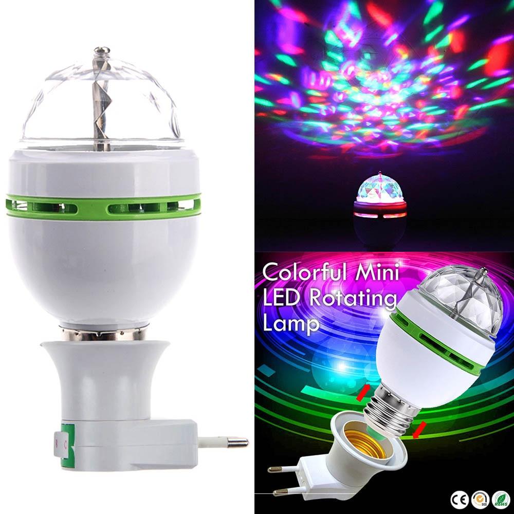 A cor completa nova 3w mini e27 rgb conduziu a lâmpada de rotação automática rgb conduziu a iluminação 85-265 v da fase do disco do dj para a iluminação da barra ktv