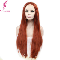Yiyaobess Glueless Natural Straight Lace Front Wig Synthetic African American Orange Red Long Wigs For White Women