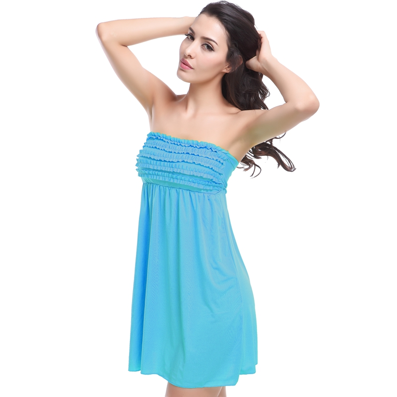 Hot Sales 2019 Mini Ruffled Top Bandaged Back Beach Dress Loose Swimming Beach Wear Cover Ups