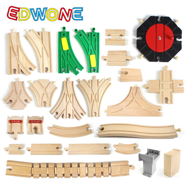 EDWONE  All Kinds Wooden Track Part Beech Wooden Railway Train Track TOY Accessories fit for thoma s Biro