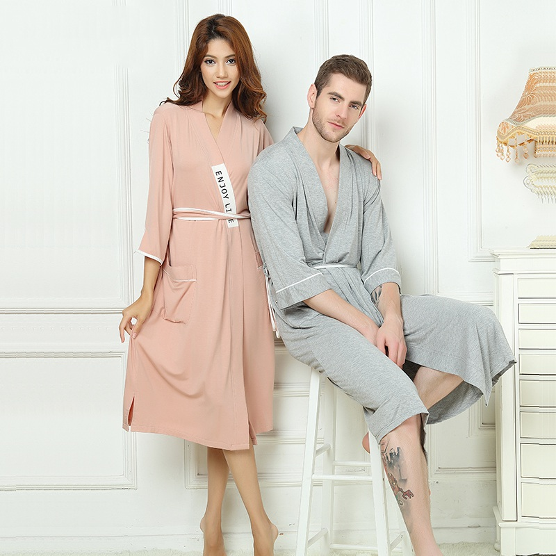 Bathrobe Men Bamboo Fiber Robe Home Clothing Soft Long Bathrobe Brand Male Sleep Homewear Robes Summer Autumn Winer Grey Pink