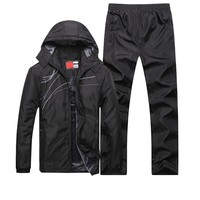 Sportssuit Men Thermal Sets Winter outdoor Sport clothes Fleece Warm Tracksuit Windproof Gym Running jogging Sportswear kits