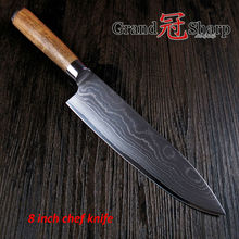GRANDSHARP 8 Inch Chef Knife 67 Layers Japanese Damascus Stainless Steel VG-10 Core Acacia Wood Handle  Cooking Tools NEW