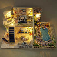 Diy Doll House Wooden Miniature Doll Houses Furniture Kit Box Puzzle Assemble Villa Pool Beach Dollhouse Toys For Christmas Gift