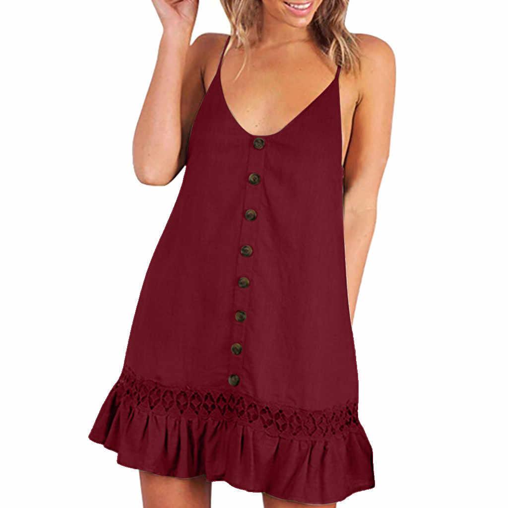 Фото 2019 летнее женское мини платье без рукавов с рюшами Повседневное на пуговицах v