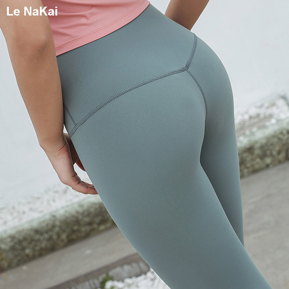 Le NaKai High waist four way stretch pencil pants Solid tummy control athletic sport yoga legging fitness compression gym tights