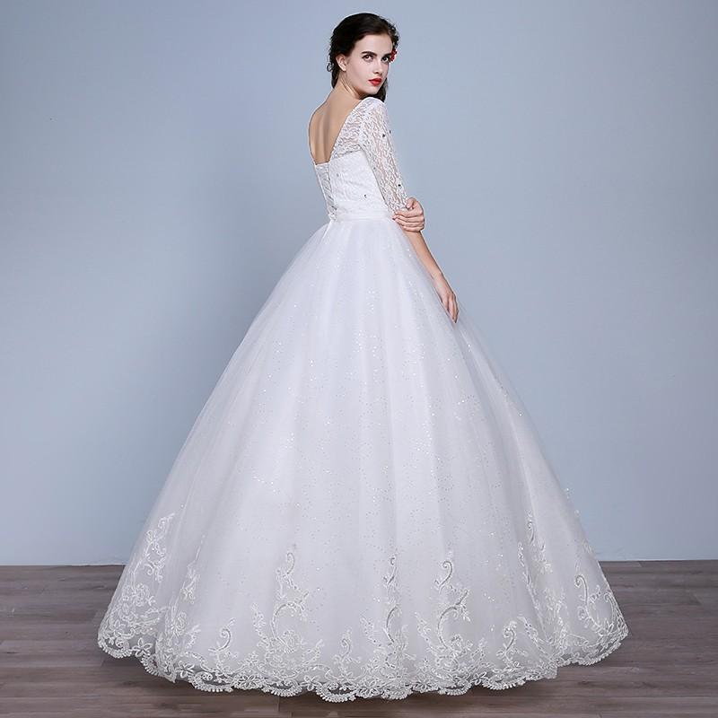 Fashion Plus Size Wedding Dress 2016 Women Lace Sweetheart Half Sleeve Vestidos De Noiva WD2672 (7)