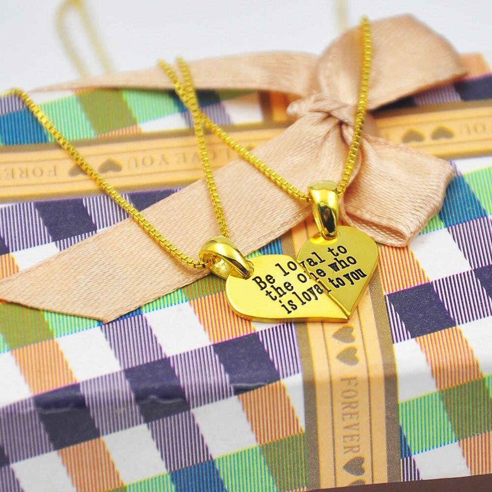 Collier Puzzle coeur en or avec chaîne de boîte, mots gravés briser pendentif coeur, ensemble collier nom personnalisé, cadeau de noël