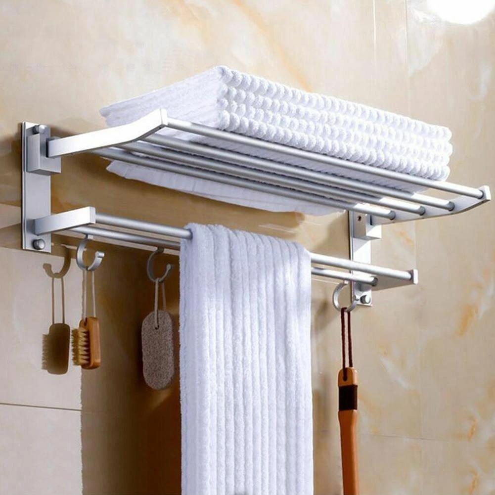 aluminum 2 tier wall mounted bathroom towel rack rail holder storage hanger shelf kitchen hotel clothes towel racks organizer