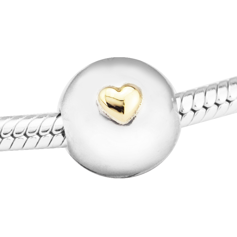 Beads 925 Sterling-Silver-Jewelry Signature Insignia Clip Beads with 14K Heart Charms Fits Bracelet Beads for Jewelry Making
