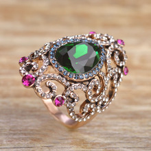 Vintage Jewelry Water Drop Wide Rings For Women Men Antique Gold Green Rhinestone Bague Femme Blucome Anel Masculino Accessory