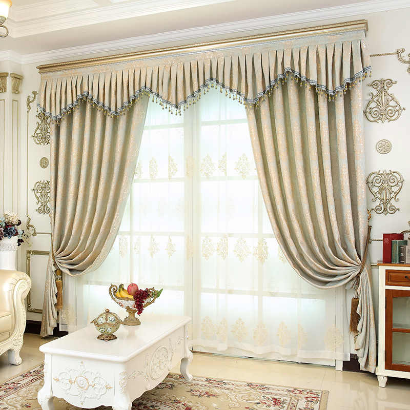 Luxury European Jacquard Blackout curtains for living room windows High-end custom villa curtains for bedroom/Kitchen