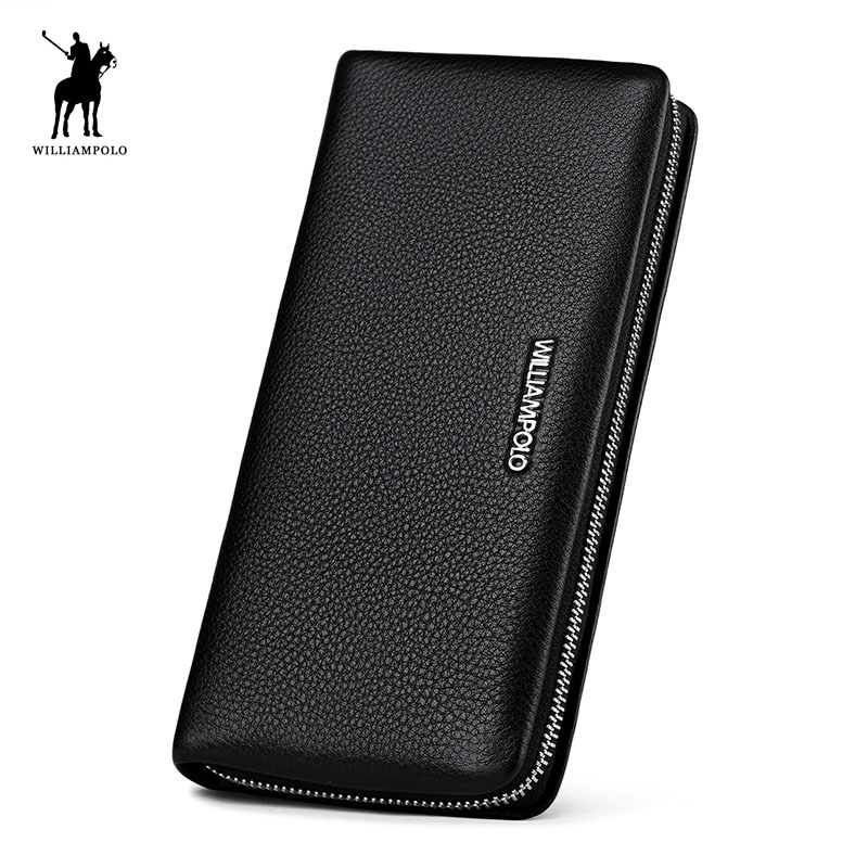 2018 New Men Purse Black Cow Leather Business Clutch Bags WILLIAMPOLO Checkbook Credit Card Holder Clutch Wallets Fashion Zipper men pu leather credit card holder billfold wallet purse checkbook clutch