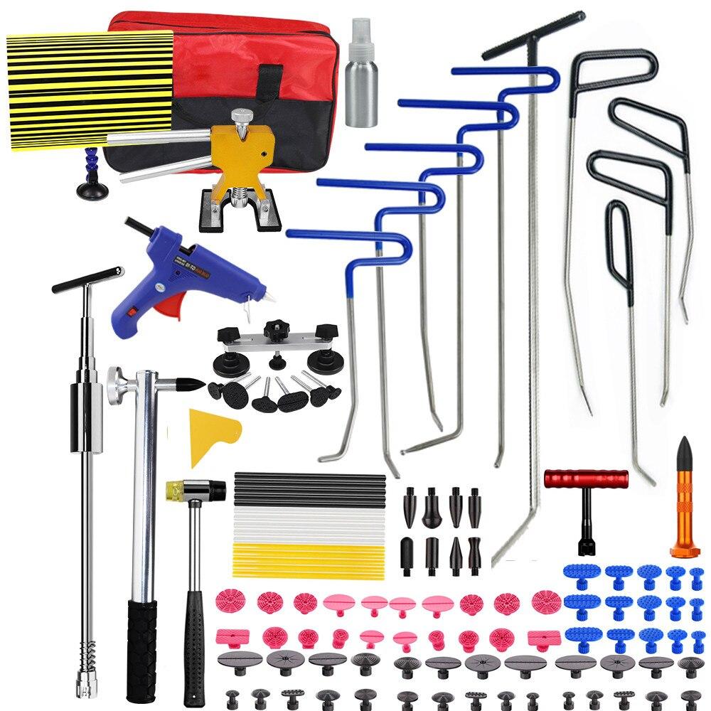 Ferramentas de pdr furuix ganchos primavera aço push rods dent remoção do carro reparação do corpo do carro kit de reparação paintless dent repair tool kit