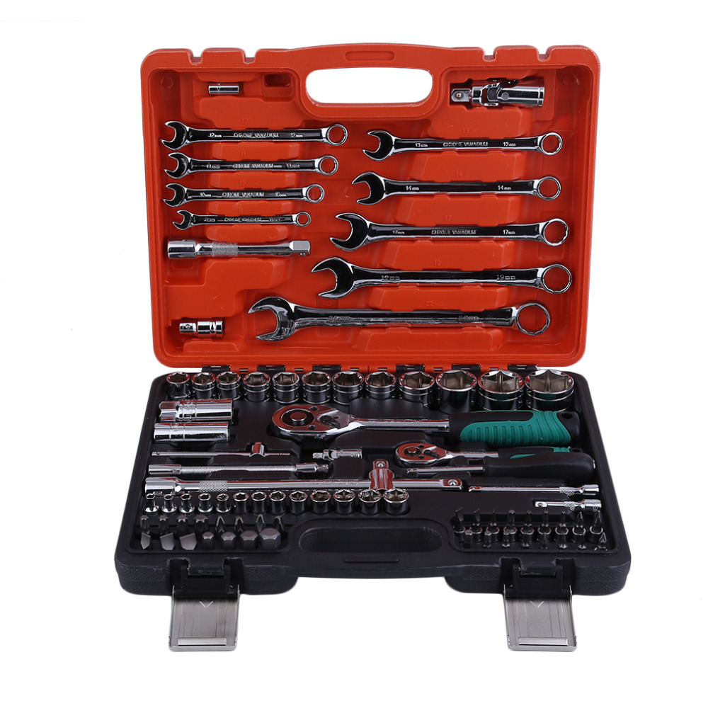 82pcs Keys Spanner Car Vehicles Repair Tool Ratchet Torque Wrench Combo Tools Kit Auto Repairing Hand Tool Set