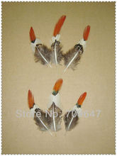 50PCS/LOT 6-10cm pheasant feathers,lady amherst feather, orange red tipped,wholesale lot! freeshipping