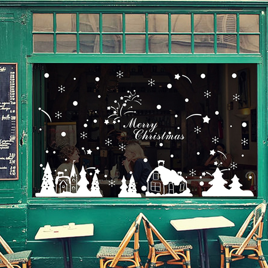 Top Grand Christmas Shop Window Decoration Wall Stickers Christmas Snowflakes Town #A07