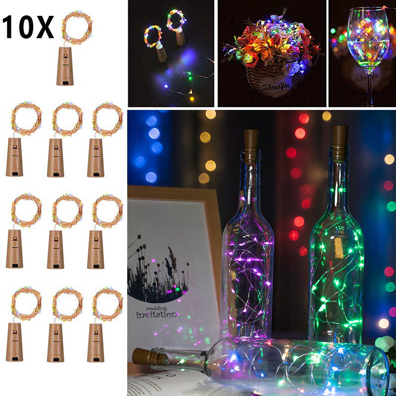 included battery 10 20 Led String Lights Garland Silver Wire Corker Fairy for Glass Craft Bottle Christmas/Valentines Decoration