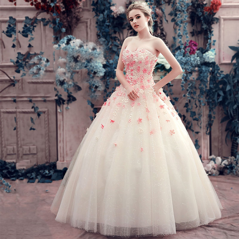 Pink White Princess Wedding Dresses: Luxury Romantic Flower Wedding Dresses Sweetheart Lace Up