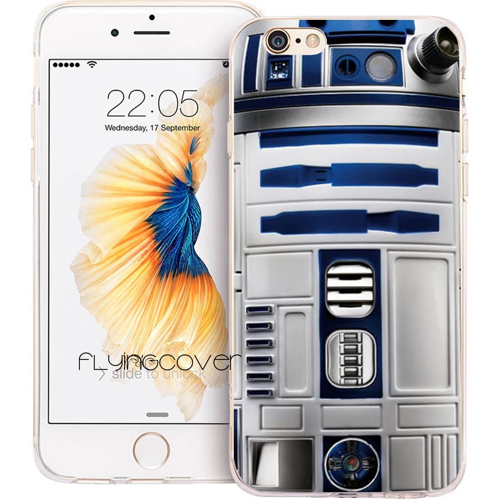 Coque Star Wars Robot R2D2 Clair Silicone Souple Téléphone étuis pour iphone XS Max XR X 7 8 6 6 S Plus 5 S 5 SE 5C 4 S 4 iPod Touch 6 5.