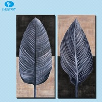 Modern Wall art Painting 2 piece leaf top decorative wall paintings for home decor idea oil art print on canvas No framed