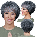 Fashion Dark Gray Wigs For Older Women Fashion Puffy Synthetic Natural Looking African American Cheap Short Curly Hair Wig