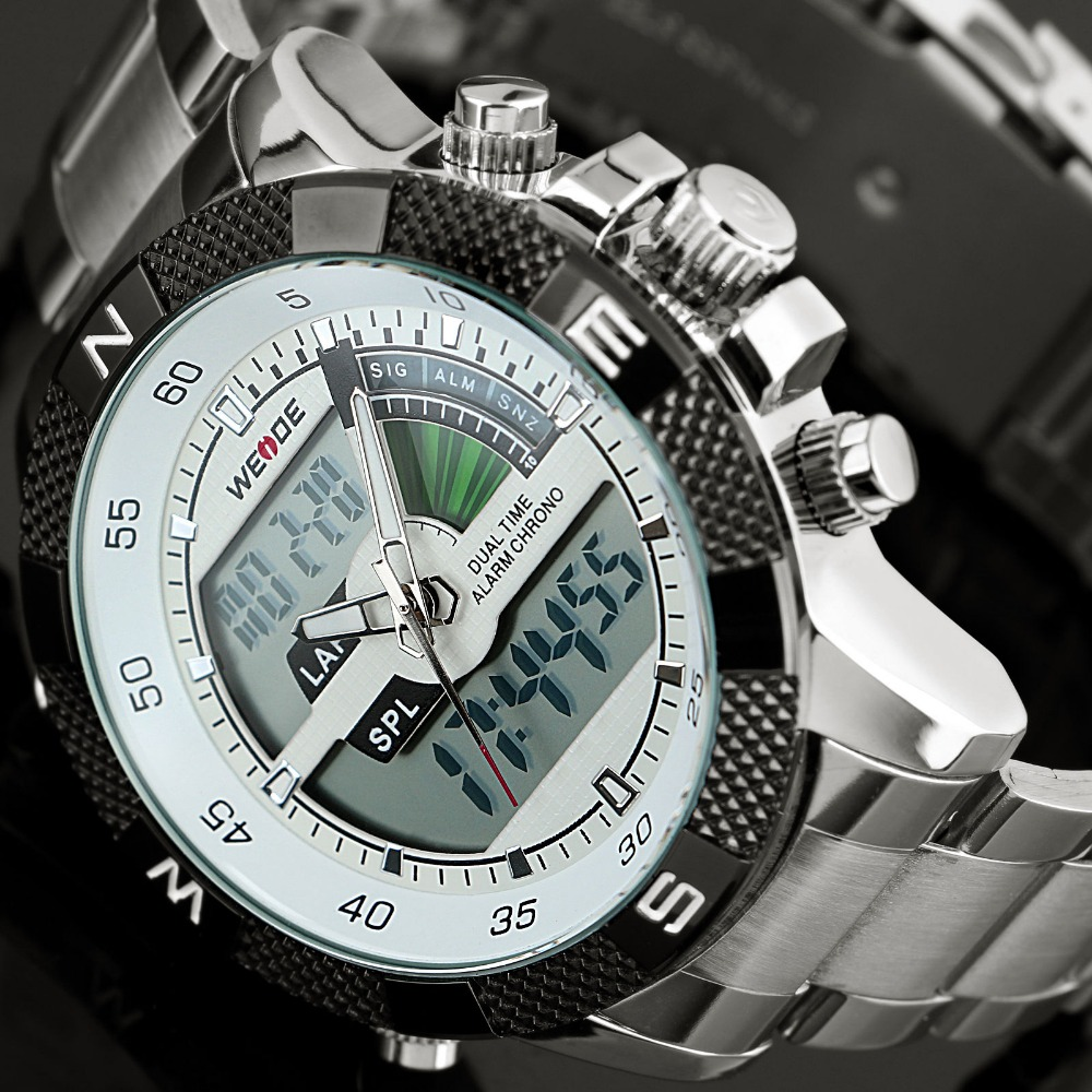 2017 Top marca de lujo Weide hombres moda Relojes deportivos hombres de cuarzo LED reloj hombre ejército Militar Relogio Masculino