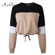 ArtSu Fashion Autumn Patchwork Long Sleeve Crop Top Hoodie O-neck Oversized Sweatshirt Bts Streetwear Hoody Kpop ASHO20244