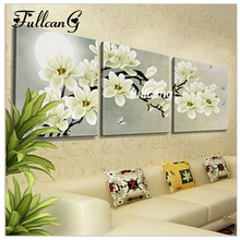 diamond embroidery triptych white flowers home decoration whole mosaic square drill needlework painting D487