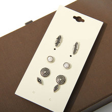Fashion accessories stud font b earring b font pack set 4 pairs round eyes silver leaves