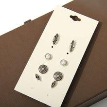 Модные аксессуары шпилька серьги pack set 4 pairs круглые глаза серебряные листья полые серьги подарок для женщин brincos