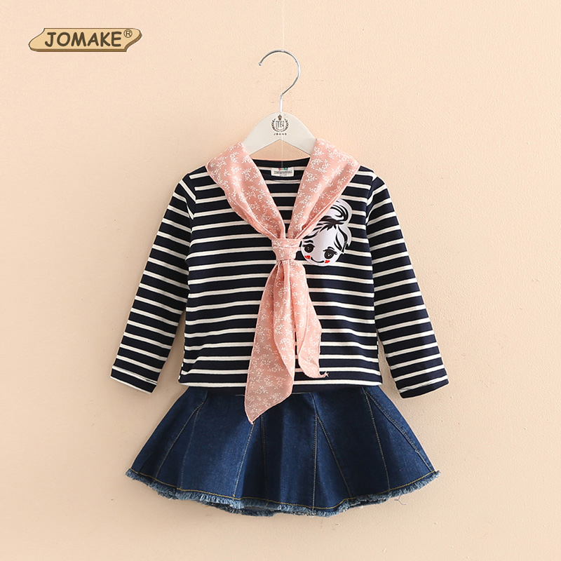 New Fashion Girls Clothing Set Autumn Casual Suits Striped T Shirt + Denim Tutu Skirt Princess Kids Clothes Sets With Gift Scarf new 2017 spring girls lace flower denim jacket t shirt jeans clothing sets 3pcs kids clothes sets girls casual denim suit