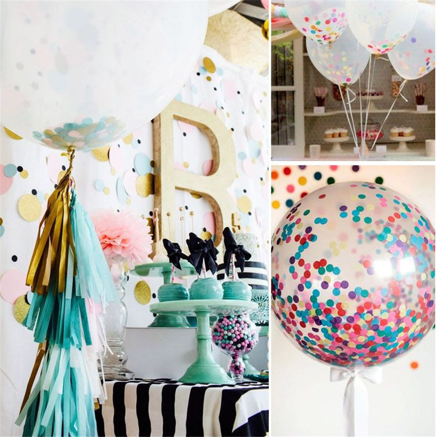 Buy 1000pcs 1inch multicolor round paper for Balloon decoration kit