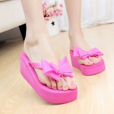 2018 fashion women beach sandal shoes Summer bowtie beach flip flops wedge sandal Zapatos Mujer 2018 women fur slippers luxury real fox fur beach sandal shoes fluffy comfy furry flip flops