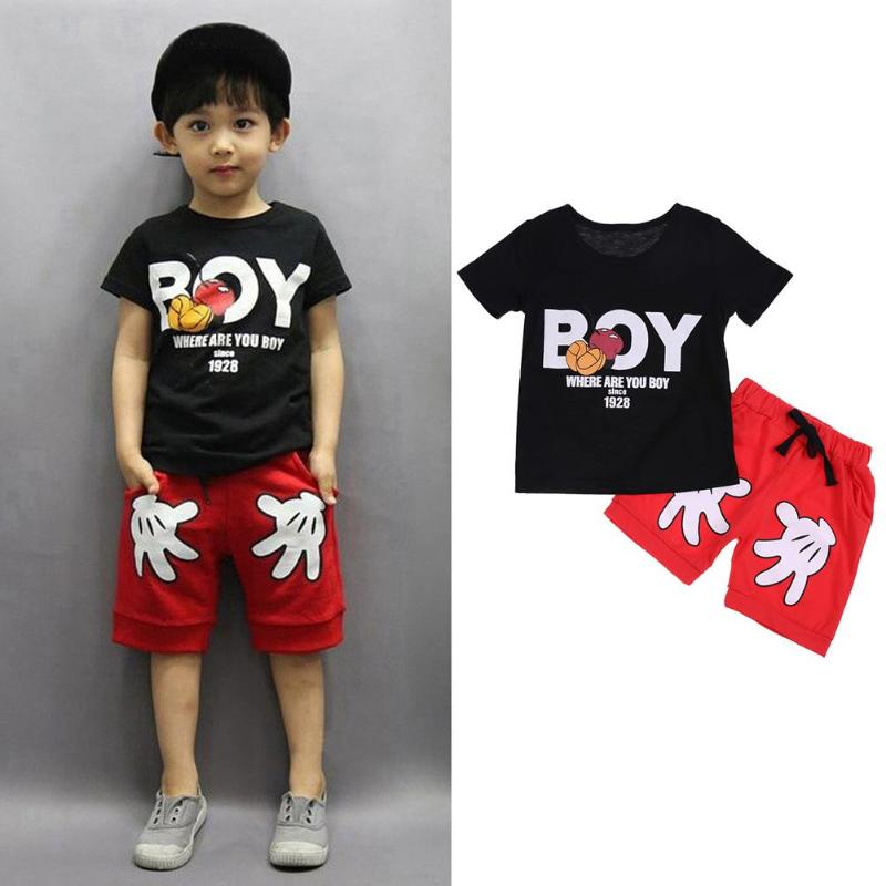 цены 2pcs/set Kids Boys Clothes Sets Summer Printed Boy Baby Clothing Set Short Sleeve Child T-shirt with Palm Shorts Children Outfit