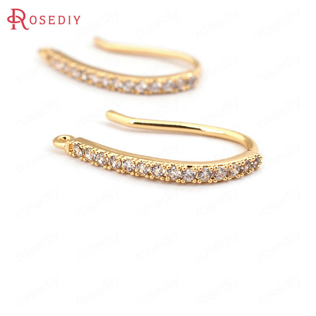 (31617)4PCS height 20MM 24K Gold Color Plated Brass with Zircon Earrings Hook Hi