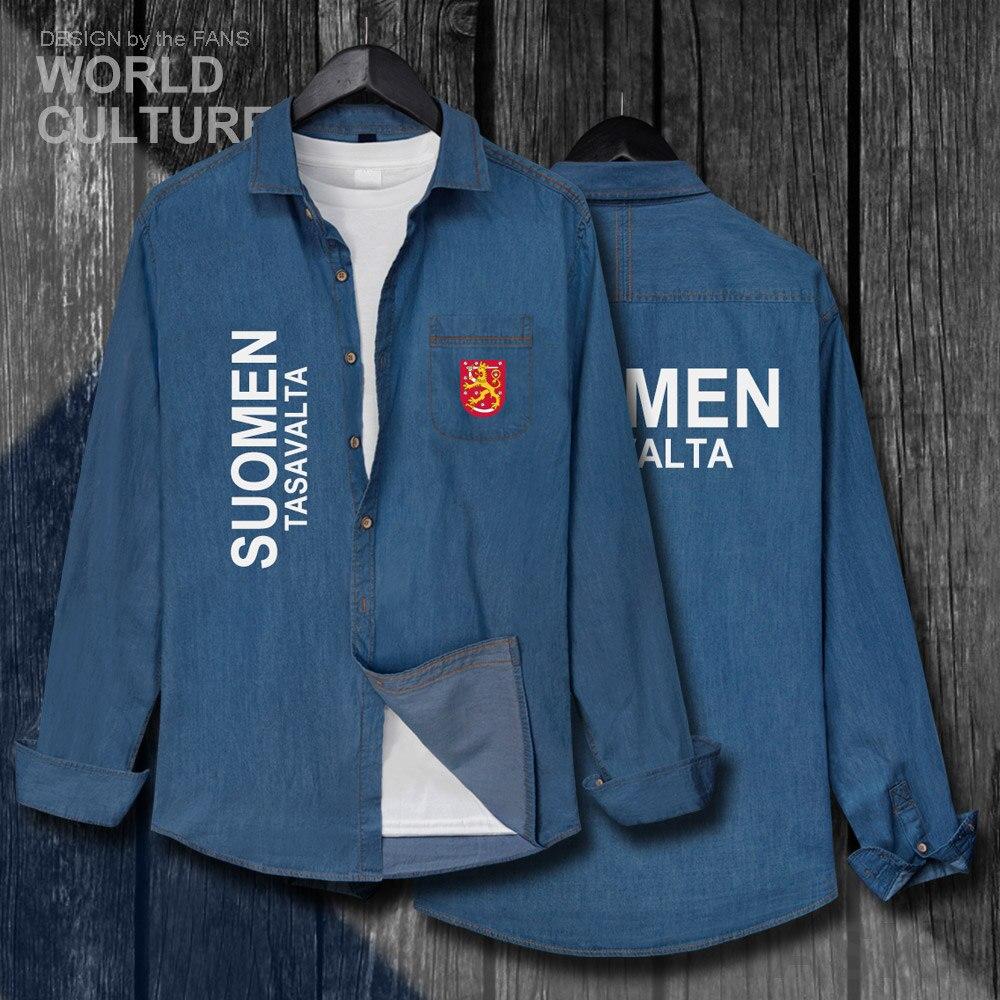 Finnland Fin Fi Suomi Finnische Finn Fi Männer Nation Flagge Kleidung Herbst Baumwolle Langarm Cowboy Drehen-unten Kragen Jeans Hemd 20