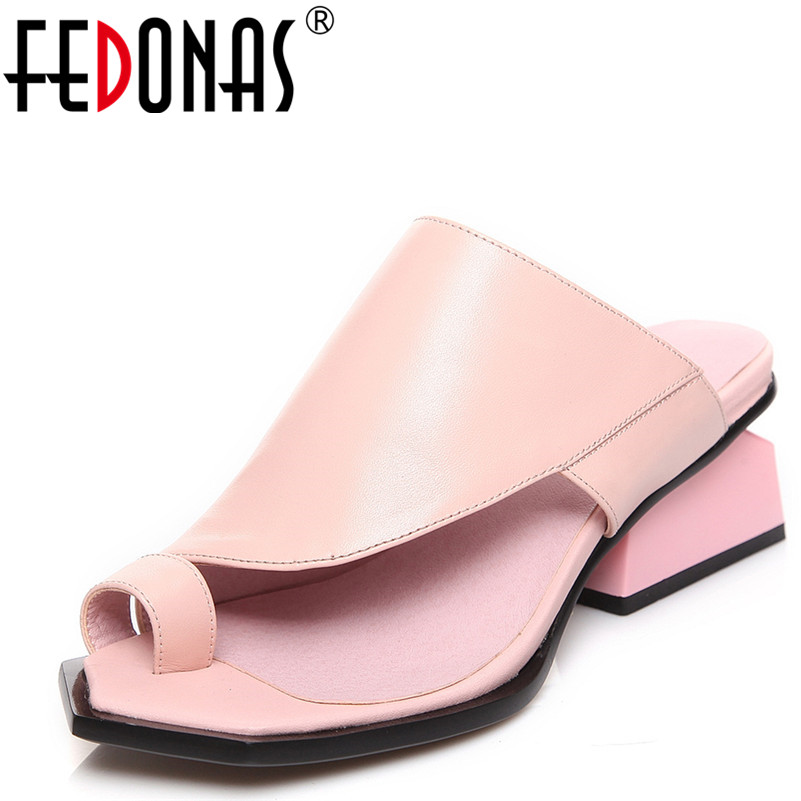 FEDONAS Women Sandals Summer Genuine Leather Shoes Woman Flip Flops Ladies High Heeled Sandals Women Comfort Casual Shoes fedonas brand women summer gladiator low heeled sandals fashion comfort slippers genuine leather elegant shoes woman sandals