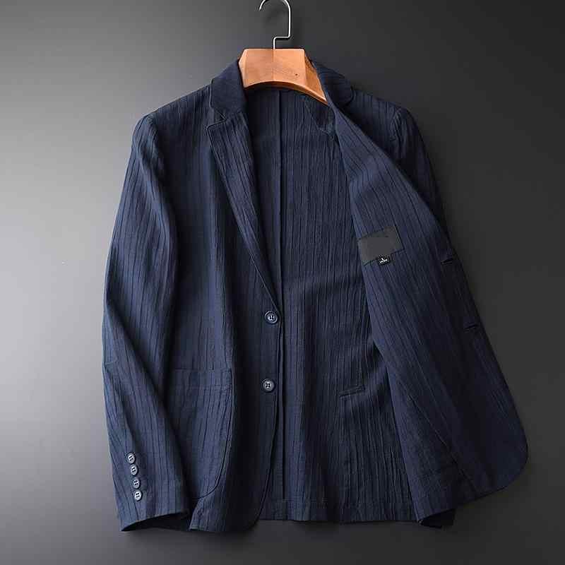 新しい到着春秋のコットンリネンカジュアルスーツ男性スリム若い潮ハンサムジャケットファッション高品質プラスサイズM-3XL4XL