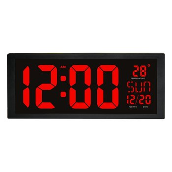 LED Digital Wall Clock with Fold-Out Stand for Tabletop Placement Displays Indoor Temperature Calendar Date and Week Home Decor