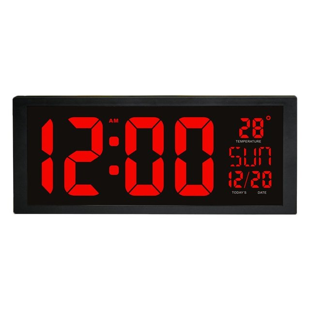 LED Digital Wall Clock With Fold Out Stand For Tabletop Placement Displays  Indoor Temperature Calendar