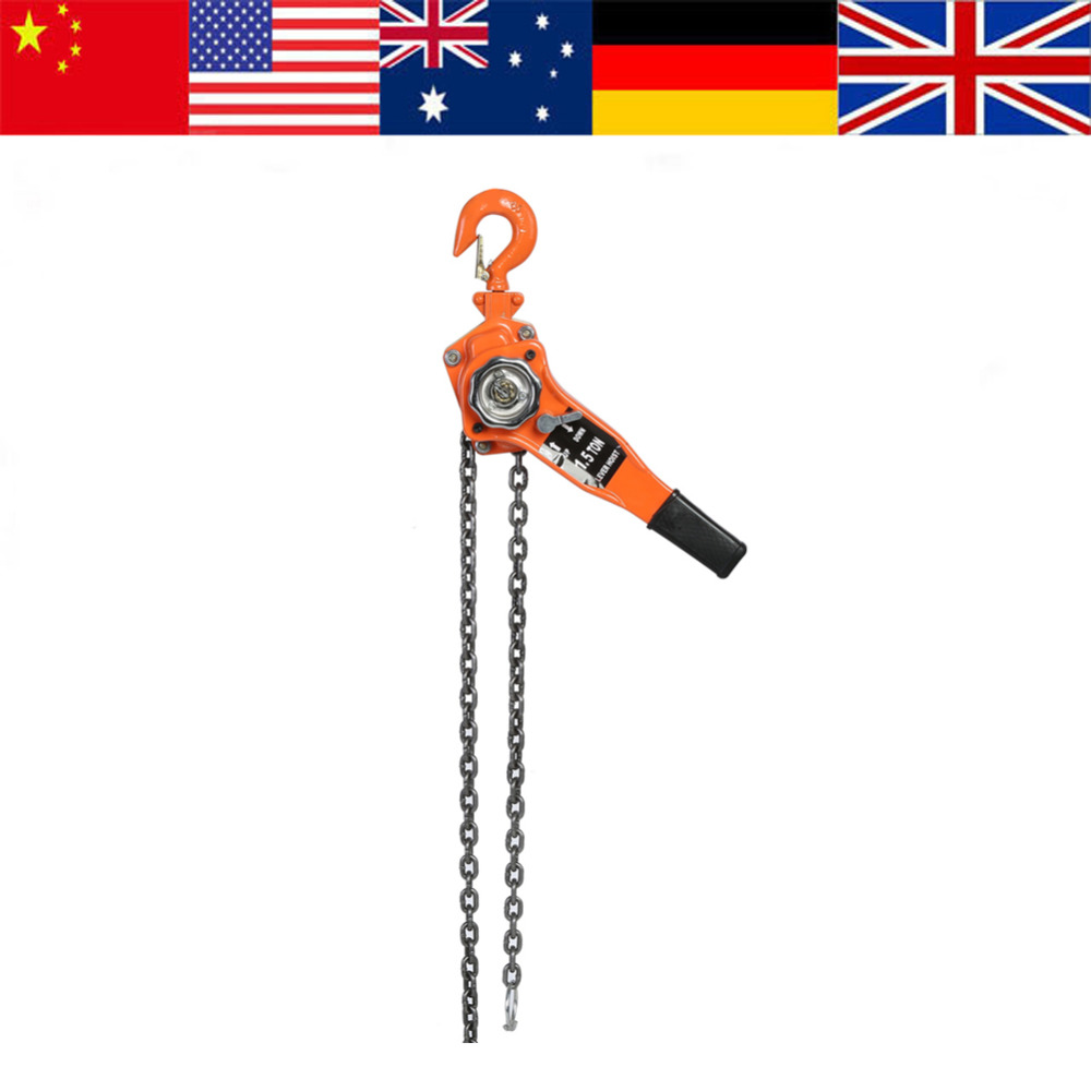 1 Set 1 5Ton Lifting Hoist Alloy Steel 10ft Lever Chain Hoist Ratchet Puller Lifting Equipment