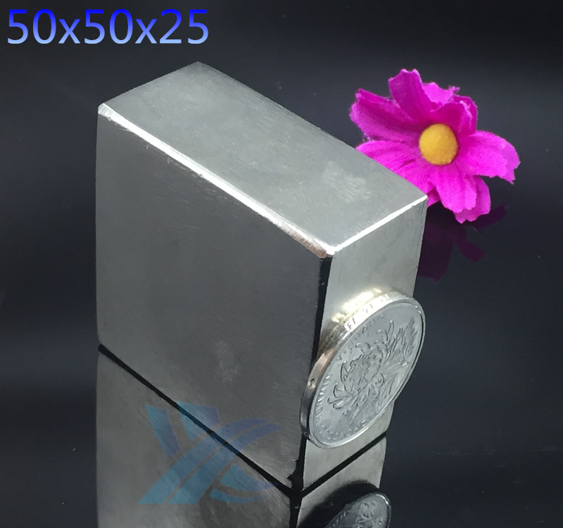1PC 50x50x25 mm Magnets Super Strong Powerful Ndfeb Block Rare Earth Magnet Neodymium Magnetic 50*50*25mm N35 2015 20pcs n42 super strong block square rare earth neodymium magnets 10 x 5 x 1mm magnet wholesale price