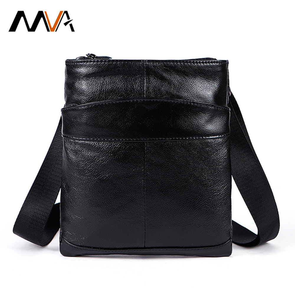 MVA Male Bag Genuine Leather Messenger Bag Men Leather Shoulder Bags male Small Casual Crossbody Bags for Man mini ipad Flap 703 2017 summer metal ring women s messenger bags solid scrub leather women shoulder bag small flap bag casual girl crossbody bags