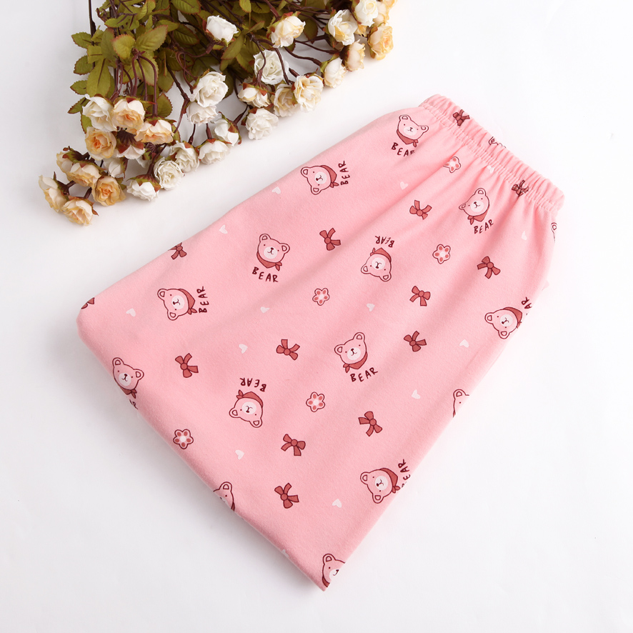 Women's pajama pants female trousers autumn and winter knitted cotton cartoon thick cotton lounge pants loose plus size spring
