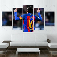 5 Panel Fc Barcelona Messi Canvas Printed Painting For Living Picture Wall Art HD Print Decor